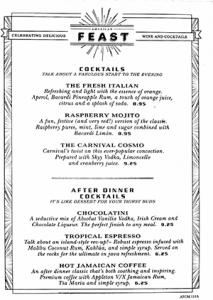 Pride Dining Room Drink menu night 2