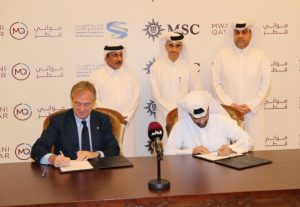 MSC Cruises Executive Chairman Pierfrancesco Vago signs with HE Hassan Al Thawadi, Secretary General of the Supreme Committee for Delivery & Legacy