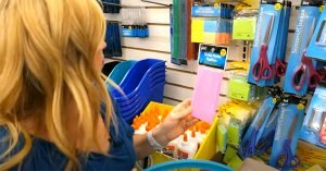 Dollar store shopping for a cruise sticky notes