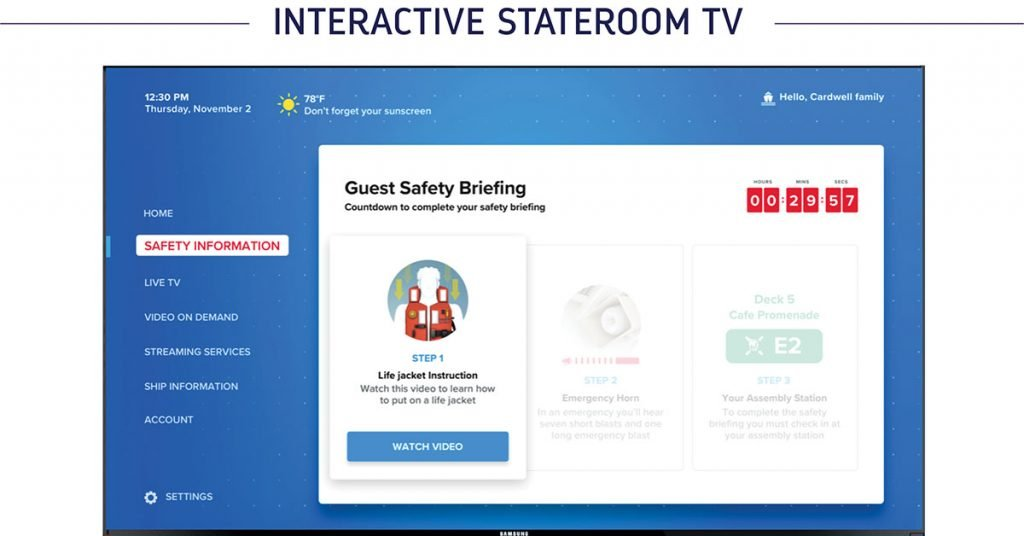Royal Caribbean Muster 2.0 Interactive stateroom