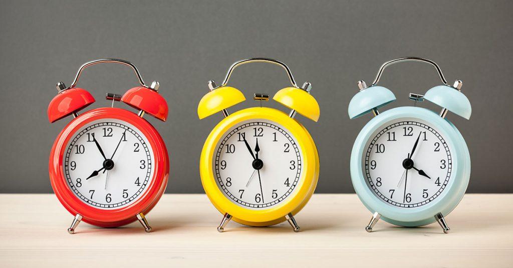cruise mistakes three colorful alarm clocks