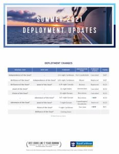 Royal Caribbean Summer 2021 Redeploy Flyer