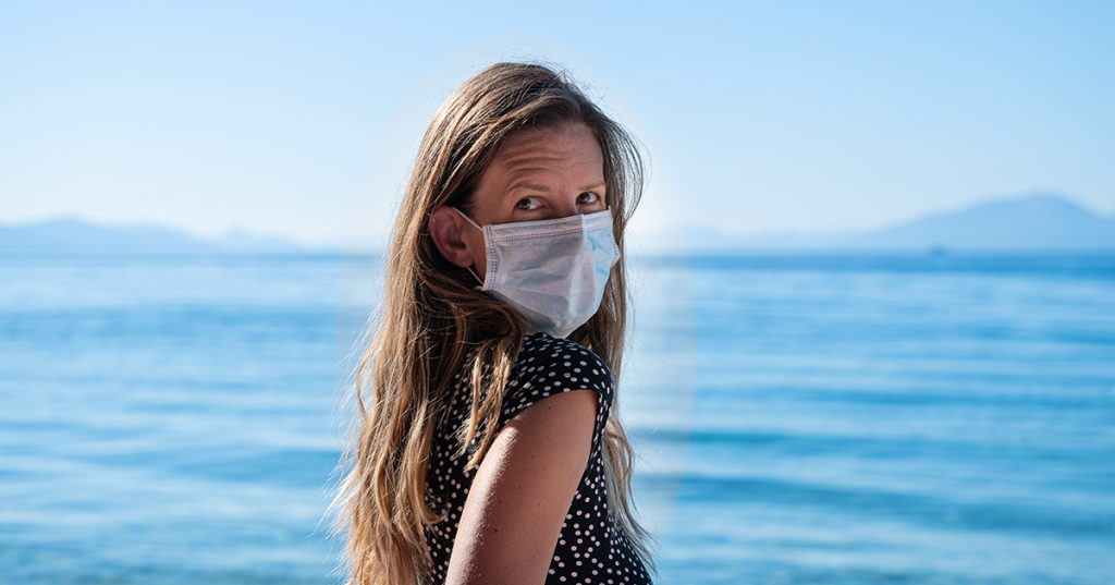 cruise safety woman in protective mask