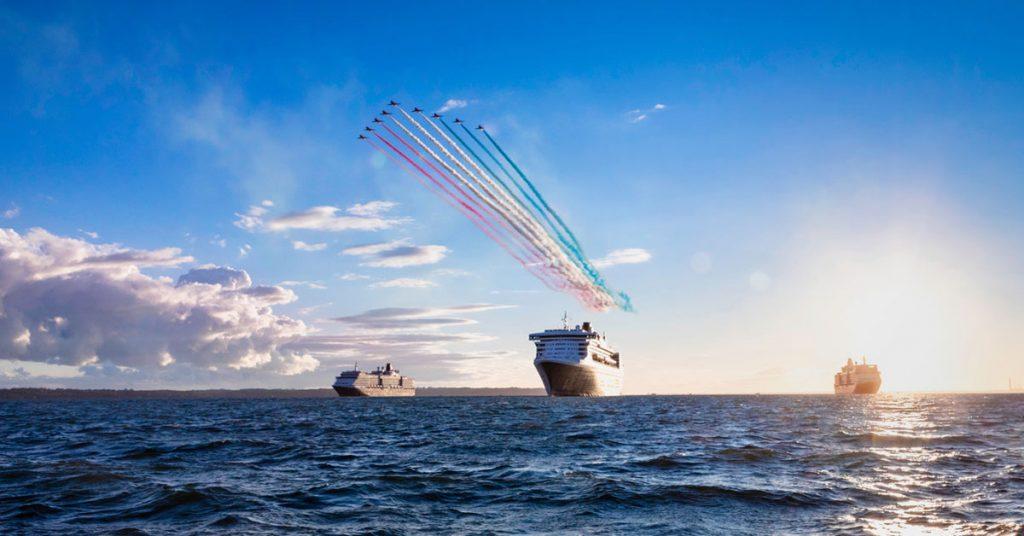 Cunard Ships at sea