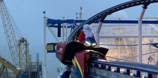 Santa Claus on cruise ship roller coaster