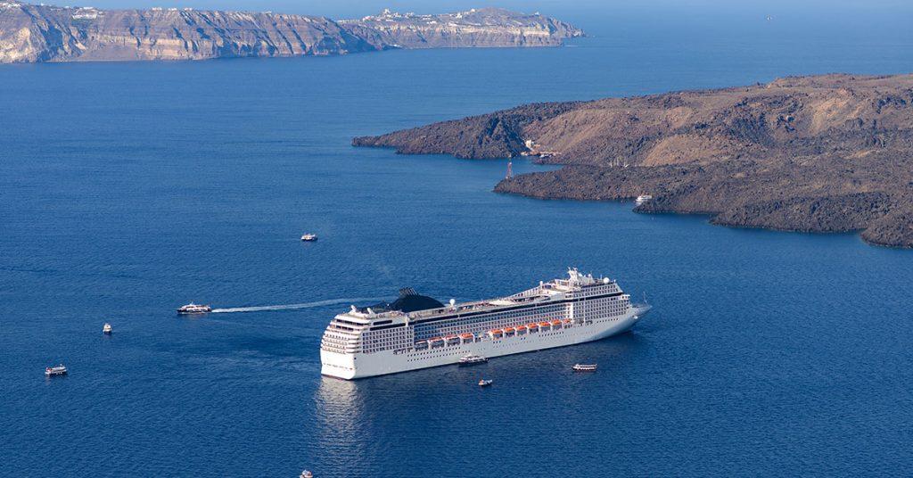 Cruise questions cruise-ship-near-the-coast-of-santorini