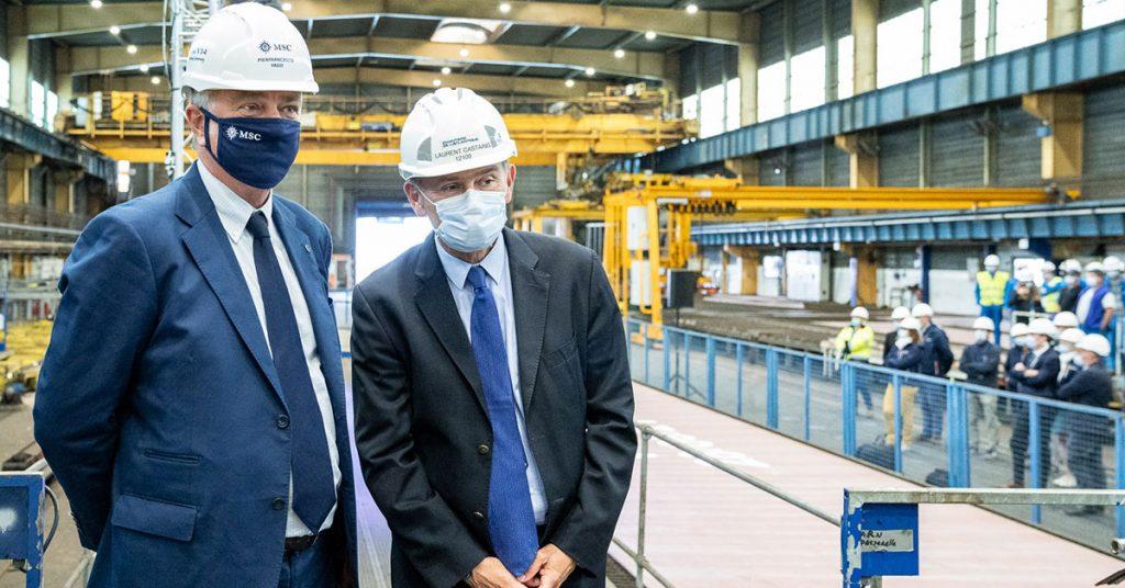 MSC Euribia Pierfrancesco-Vago,-Executive-Chairman-of-MSC-Cruises-and-Laurent-Castaing,-Chantiers-de-l'Atlantique's-General-Manager