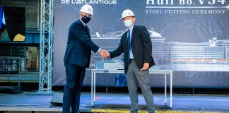 MSC Euribia Pierfrancesco-Vago,-Executive-Chairman-of-MSC-Cruises-and-Laurent-Castaing,-Chantiers-de-l'Atlantique's-General-Manager-2
