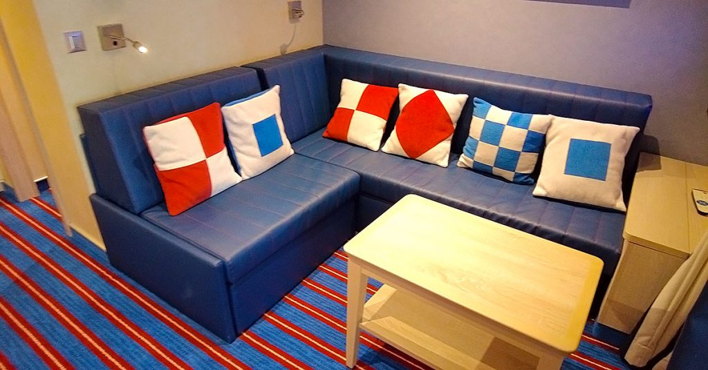 Carnival Panorama Family Harbor Suite Couch